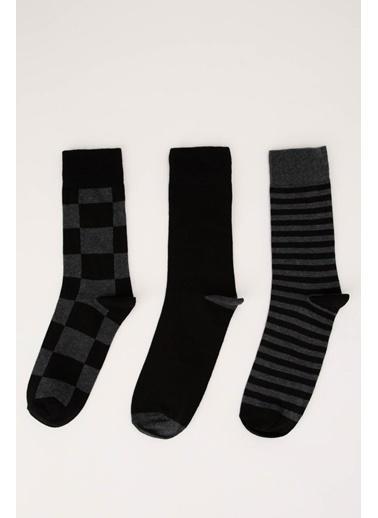 DeFacto Desenli Soket Çorap 3'lü Siyah